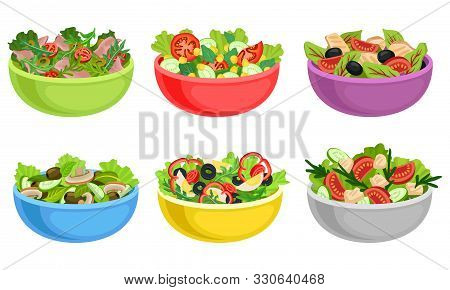 Fruit And Vegetable Salad Served In Bowls Vector Set