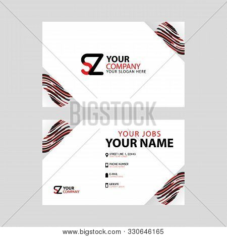 Horizontal Name Card With Decorative Accents On The Edge And Bonus Sz Logo In Black And Red.
