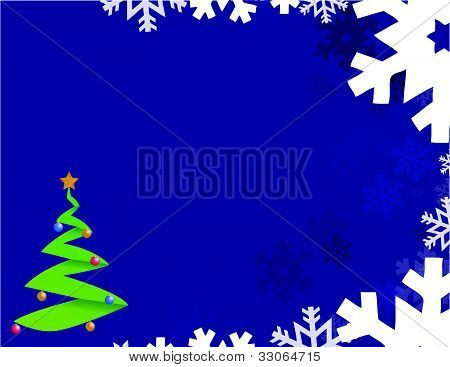 Blue background with snowflakes and christmas tree