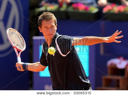 BARCELONA - APRIL, 24: Ukrainian tennis player Sergiy Stakhovsky in action during his match against Andy Murray of Barcelona tennis tournament Conde de Godo on April 24, 2012 in Barcelona, Spain.
