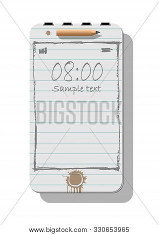poster of Smartphone metaphore for different advertising concepts with notepad, pencil and doodle