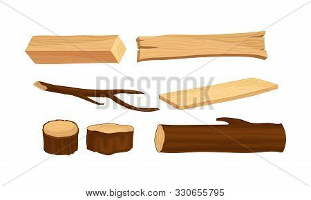 Wooden Logs And Stubs For Forestry And Lumber Industry Vector Illustrated Set