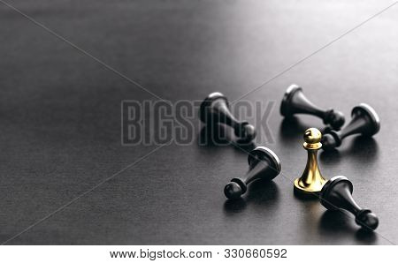 3d Illustration Of Fallen Black Pawns And A Golden One Standing Up. Black Paper Background. Concept