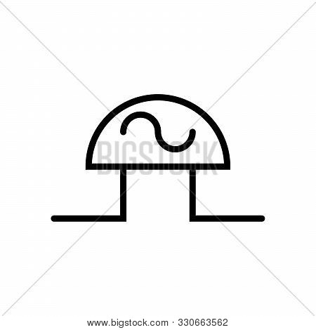 Ac Diode, Vector Best Gray Line Symbol On White Background, Eps 10