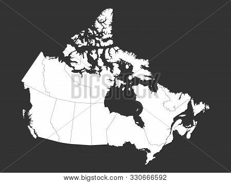 Canada Political Map With Provinces Vector Illustration. Gray, White.