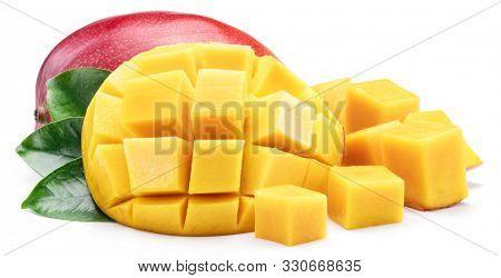 Mango fruit with mango cubes. Isolated on a white background.