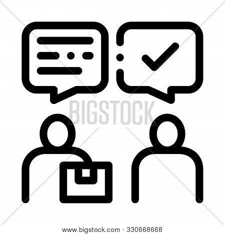 Conversation Of Sender And Postman Postal Transportation Company Icon Vector Thin Line. Contour Illu