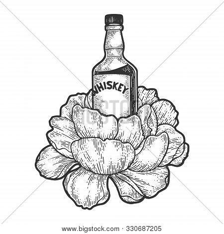 Whisky Whiskey Bottle Flasks Flower Sketch Engraving Vector Illustration. T-shirt Apparel Print Desi