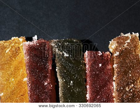 Macro Photo Artist Of Multi-colored Marmalade Jelly Candys. Dessert Marmalade Slices. The Sweetness