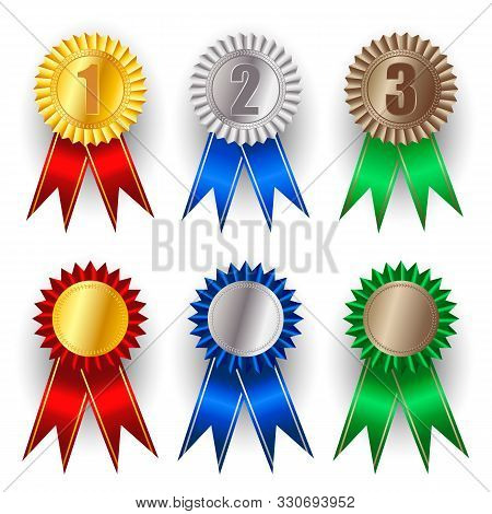 Set Of Gold, Silver And Bronze Award Medals. Winner Award Icon. Best Choice Badge. Premium Badges. W