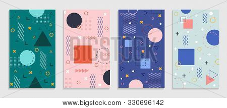 Memphis Geometric Background With Abstract Shapes. Graphic Pattern, Texture For Poster, Card, Social