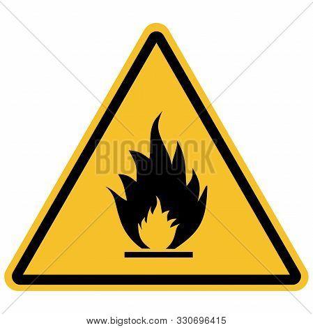 Flammable Materials Warning Sign Vector Illustration. Hazard Symbols.