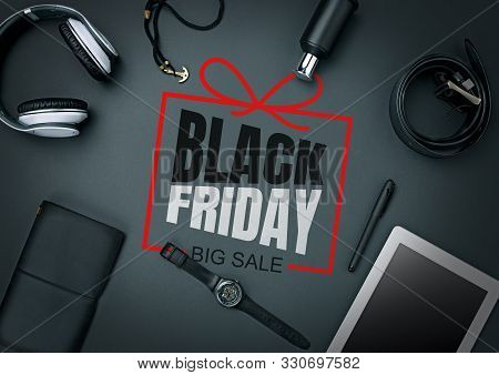 Top View Of Gadgets With Black Friday Lettering On Black Background. Copyspace For Your Ad. Black Fr