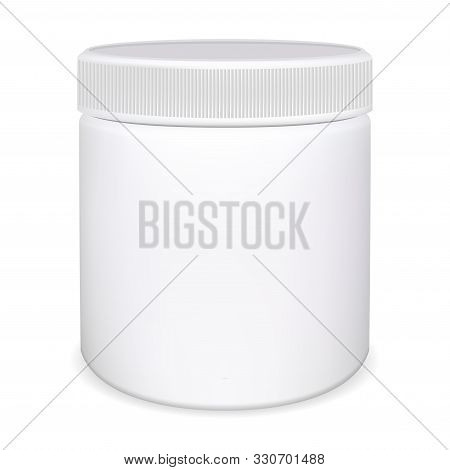 Medicine Pill Bottle. Plastic Vitamin Jar. Package Mockup Blank For Capsule. Supplement Container 3d
