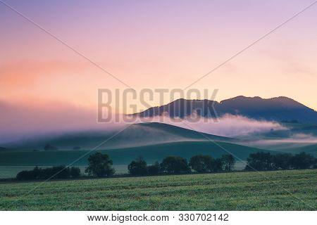 Rural Foggy Landscape In Turiec Region, Northern Slovakia.