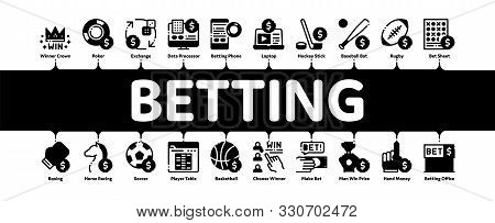 Betting And Gambling Minimal Infographic Web Banner Vector. Basketball And Baseball, Hockey And Boxi
