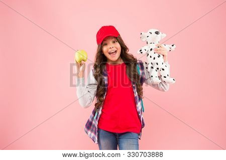 Best Apple Snack. Happy Little Child Have Snack Break On Pink Background. Small Girl Smile With Pupp