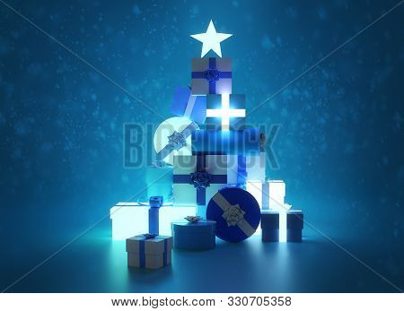 A Blue Glowing Festive Christmas Tree Made From Wrapped Christmas Presents And Gifts. 3d Illustratio