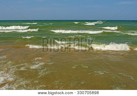 Crashing Waves On A Remote Lakeshore On Lake Michigan Near Montague, Michigan