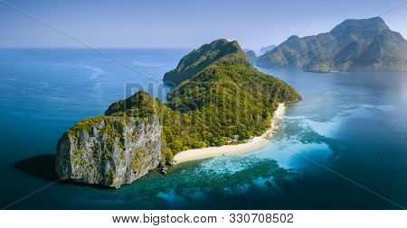 Drone Aerial Panorama Image Of Helicopter Island In The Bacuit Bay In El Nido, Palawan, Philippines