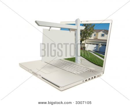 Blank Real Estate Sign & Laptop