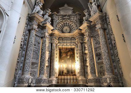 Lecce, Italy - June 1, 2017: Chapel At Basilica Di Santa Croce In Lecce, Italy. The Baroque Landmark