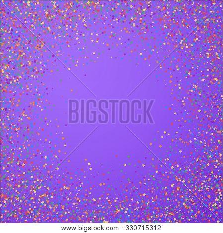 Festive Confetti. Celebration Stars. Childish Bright Stars On Bright Purple Background. Cool Festive