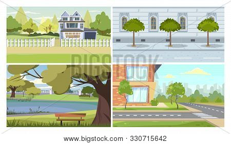 City And Suburb Illustration Set. Country Residential House, Suburb Apartment Building, Old Traditio