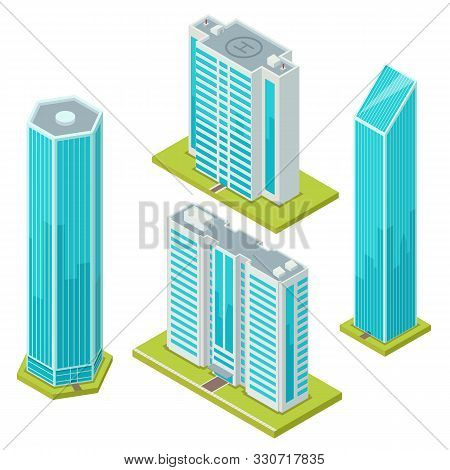 Set Of Isolated Glass Skyscraper Or Business Center. Isometric Buildings With Helicopter Landing Pad