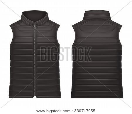Realistic Or 3d Black Vest Jacket With Zap Front And Back View. Mockup Of Waistcoat Or Closeup Of Sl
