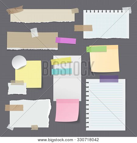 Set Of Isolated Paper Stickers Or Sticky Note, Yellow Memo With Tape, Blank Office Reminder, Notepap