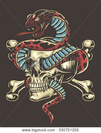 Colorful Tattoo Vintage Concept With Poisonous Snake Entwined With Skull And Crossbones Isolated Vec