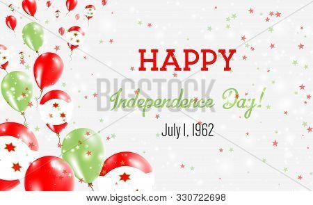 Burundi Independence Day Greeting Card. Flying Balloons In Burundi National Colors. Happy Independen