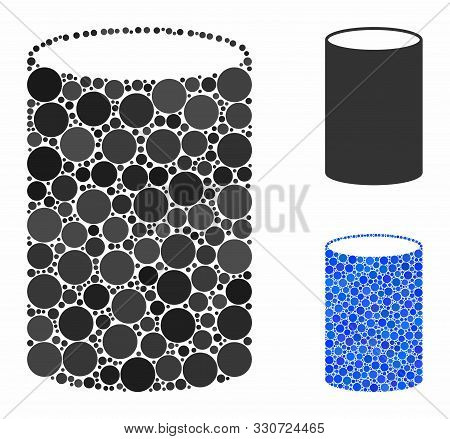 Cylinder Mosaic Of Small Circles In Various Sizes And Color Tints, Based On Cylinder Icon. Vector Ra