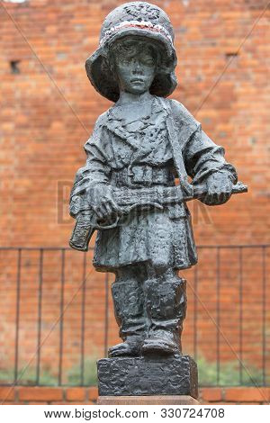 Warsaw, Poland -october 17, 2019 : Symbolic Monument Of The Little Insurrectionist, A Child Hero Fig