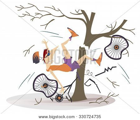 Cyclist Smashed Into A Tree Isolated Illustration. Cyclist Smashed Into A Tree And Falls Down From T