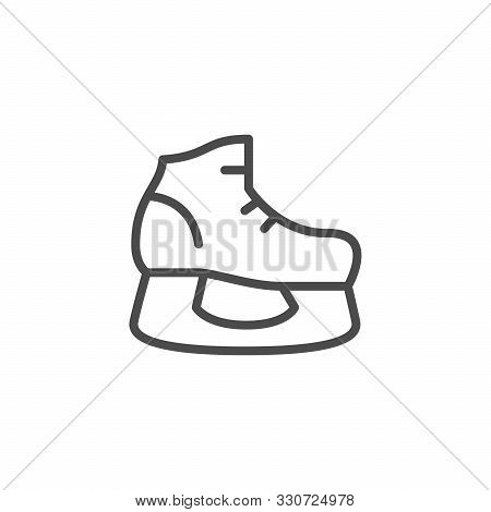 Ice Skates Sport Inventory Line Outline Icon Isolated On White. Footgear For Hockey. Activity On Ice