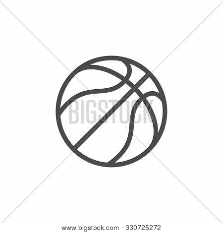 Basketball Ball Line Outline Icon Isolated On White. Sport Inventory For Play Professional Team Game