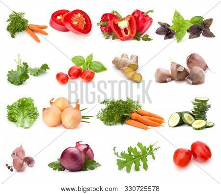 Vegetables collection isolated over white background. Set of different fresh raw veggies. Food ingredient. Healthy food concept..