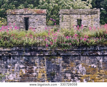 A Detail Shot Of The Ancient And Beautiful City Wall, Conwy, Wales, Great Britain, United Kingdom.