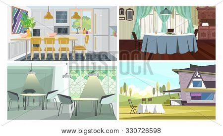 Dinner Places Illustration Set. Cafe Tables, Studio With Dining Table, Traditional Dining Room, Tabl