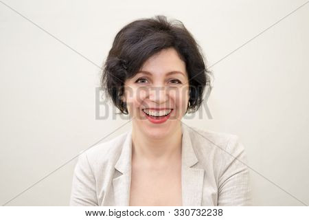 Pretty Business Woman, Successful Confidence Hilarious Laughing Portrait With Copy Space. Attractive