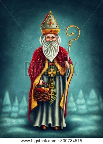 Saint Nicholas with gifts for children