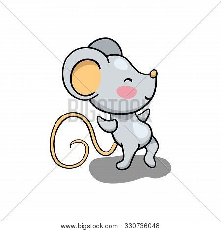 Cute Mouse Character Dancing. 2020 New Year Symbolic Animal. Rat Or Mouse Cartoon Vector Illustratio