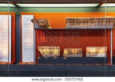 Delphi, Greece - September 21, 2017: Interior Of Archaeological Museum In Delphi Greece