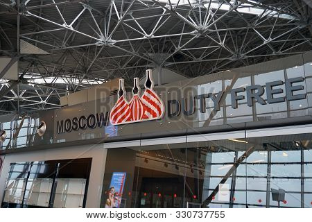 Moscow, Vnukovo/russia - October 12 2019: Vnukovo International Airport Named After A.n. Tupolev. Si