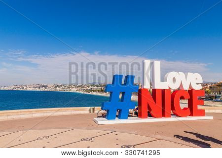 Nice Cote D Azur. France. June 20 2019. A View Of The I Love Nice Sign In Nice In Cote D Azur In Fra