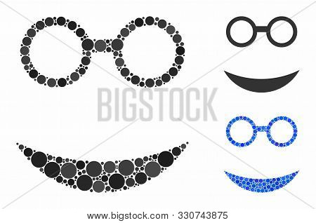 Professor Smiley Composition Of Filled Circles In Variable Sizes And Color Tones, Based On Professor