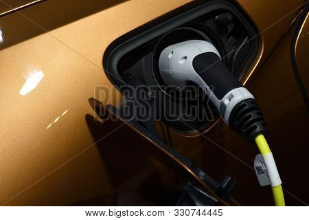 Nonthaburi,thailand - Dec 2, 2018: The New Bmw I8 Roadster 2018, Charging Or Refuelling - Both Are E