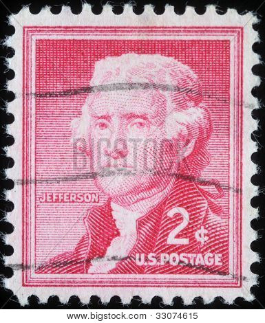 UNITED STATES OF AMERICA - CIRCA 1954: A stamp printed in the United States of America shows Thomas Jefferson, 3rd president of USA 1801-1809, circa 1954